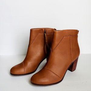 Toms Lunata Warm Tan Block Heel Ankle Booties
